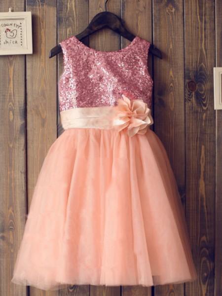 A-Line/Princess Sleeveless Tulle Knee-Length Sequin Scoop Flower Girl Dresses
