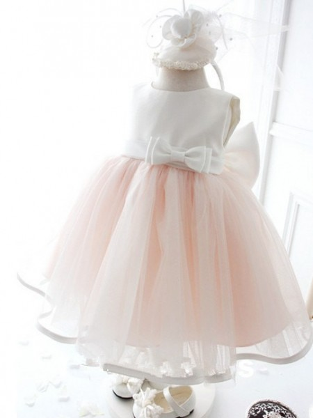 Ball Gown Sleeveless Organza Tea-Length Bowknot Jewel Flower Girl Dresses