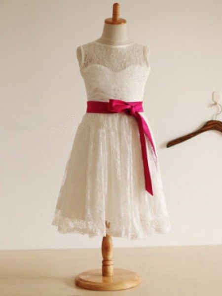 A-Line/Princess Sleeveless Lace Tea-Length Sash/Ribbon/Belt Jewel Flower Girl Dresses