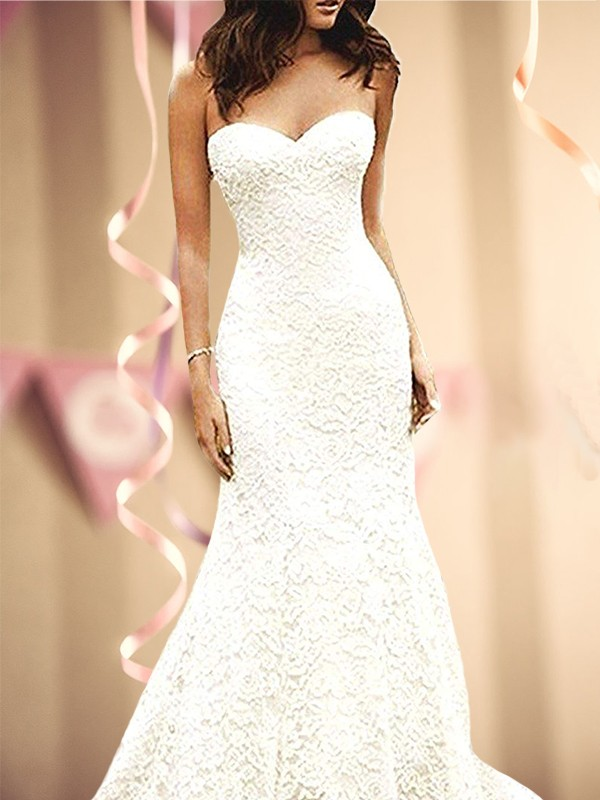 Trumpet/Mermaid lace Sweetheart Sweep/Brush Train Sleeveless Wedding Dresses