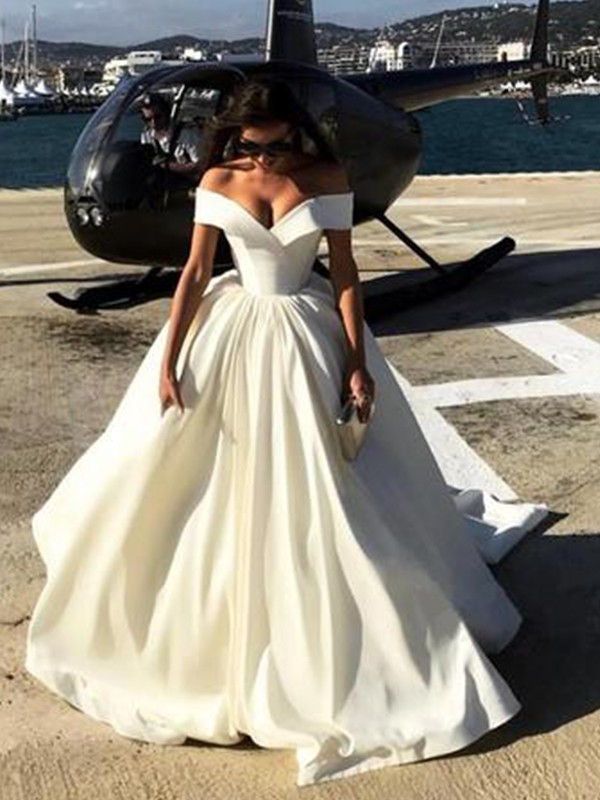 Ball Gown Off-the-Shoulder Sweep/Brush Train Satin Wedding Dresses