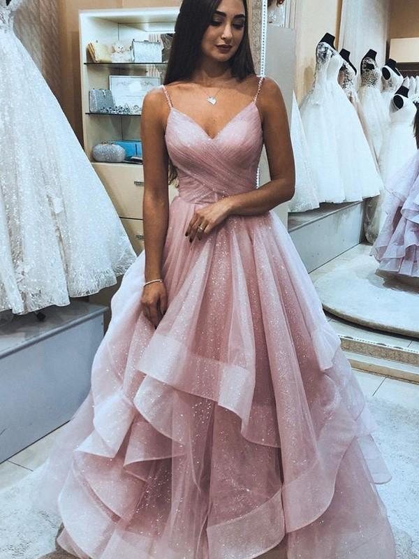 A-Line/Princess Sleeveless Organza Spaghetti Straps Ruffles Floor-Length Dresses