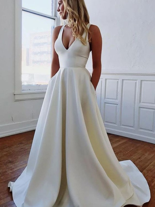 A-Line/Princess Sleeveless V-neck Satin Ruffles Sweep/Brush Train Wedding Dresses