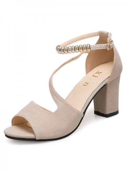 Ladies's Suede Chunky Heel Peep Toe Sandals
