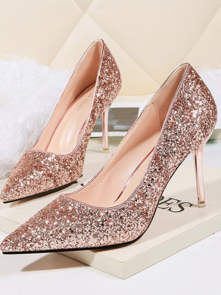 Ladies's Stiletto Heel Sparkling Glitter Closed Toe High Heels