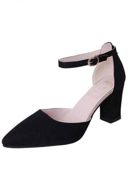 Ladies's Flock Chunky Heel Closed Toe Sandals