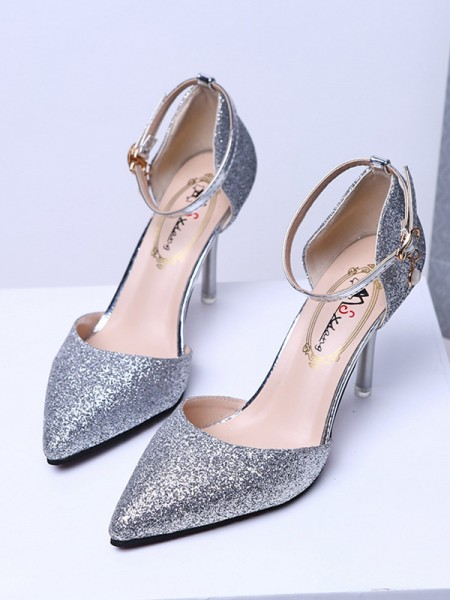 Ladies's Closed Toe Sparkling Glitter Stiletto Heel High Heels
