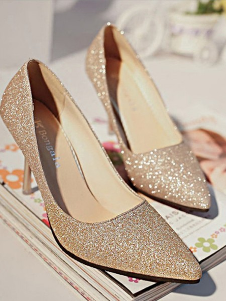 Ladies's Sparkling Glitter Closed Toe High Heels Stiletto Heel
