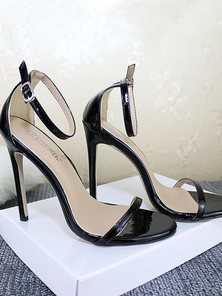 Ladies's Patent Leather Stiletto Heel Peep Toe Sandals