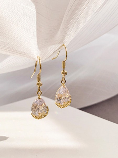 Pretty Rhinestone With Water Drop Ladies's Earrings