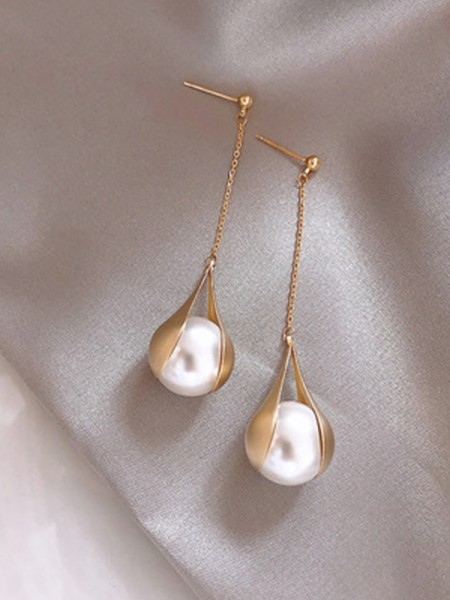 Brilliant 925 Sterling Silver With Pearl Long Womens Earrings