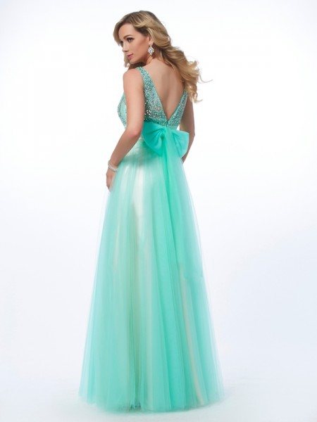 A-Line/Princess Net Bateau Floor-Length Beading Sleeveless Dresses