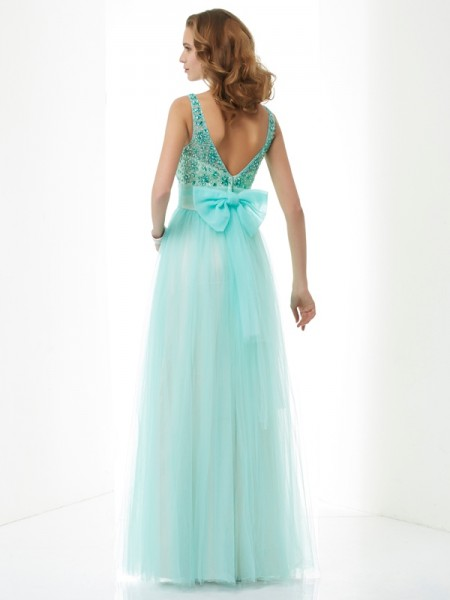 A-Line/Princess Elastic Woven Satin Net Bateau Floor-Length Beading Sleeveless Dresses
