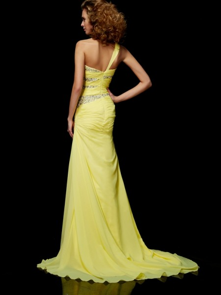 Sheath/Column Chiffon One-Shoulder Sweep/Brush Train Beading Sleeveless Dresses