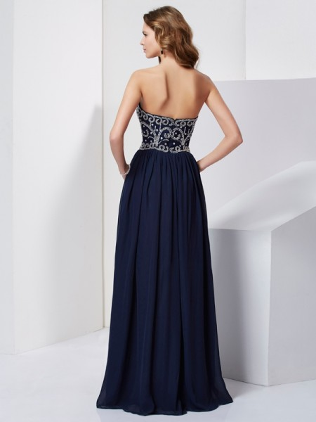 A-Line/Princess Chiffon Strapless Floor-Length Beading Sleeveless Dresses