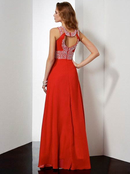 Empire Chiffon Jewel Floor-Length Acrylic Jewels Sleeveless Dresses