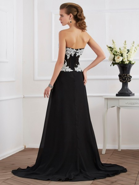 Sheath/Column Chiffon Sweetheart Floor-Length Beading Applique Sleeveless Dresses