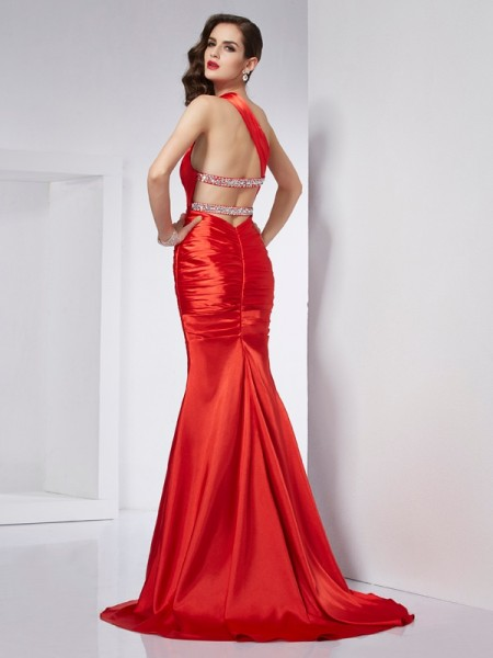 Sheath/Column Elastic Woven Satin One-Shoulder Sweep/Brush Train Beading Sleeveless Dresses