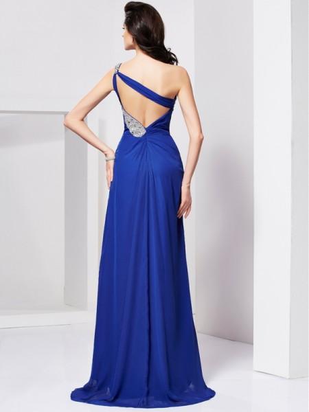 A-Line/Princess Chiffon One-Shoulder Sweep/Brush Train Pleats Beading Sleeveless Dresses