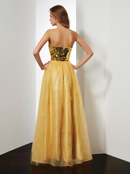 Ball Gown Organza Sweetheart Floor-Length Sequin Sleeveless Dresses
