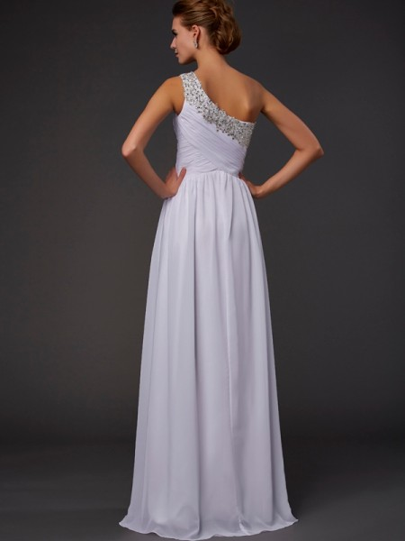 Sheath/Column Chiffon One-Shoulder Floor-Length Beading Sleeveless Dresses