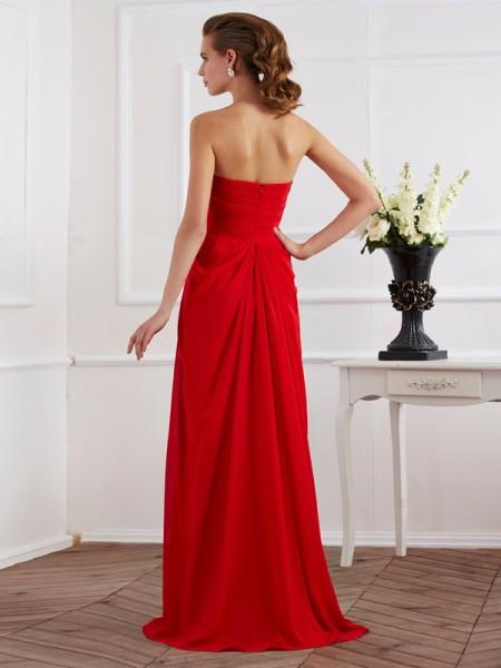 Sheath/Column Chiffon Strapless Floor-Length Pleats Sleeveless Dresses