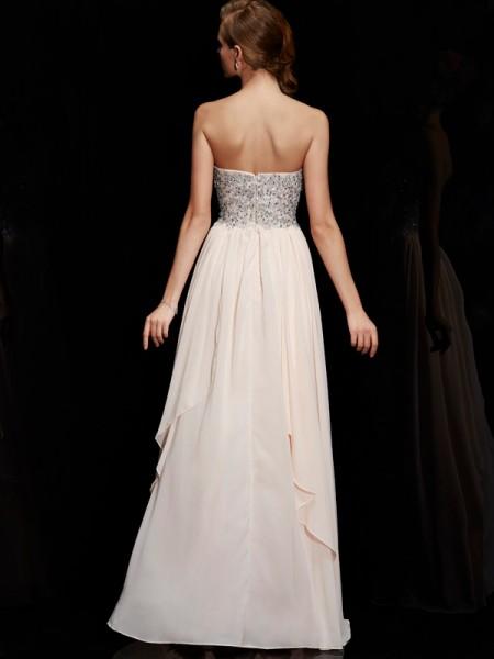 Sheath/Column Chiffon Sweetheart Floor-Length Beading Sleeveless Dresses