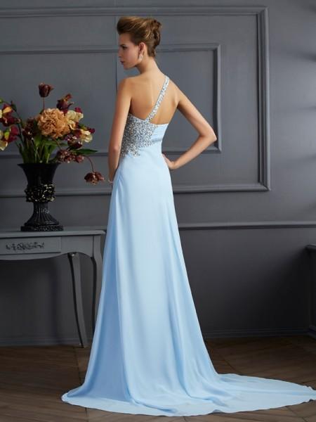 Sheath/Column Chiffon One-Shoulder Sweep/Brush Train Beading Sleeveless Dresses