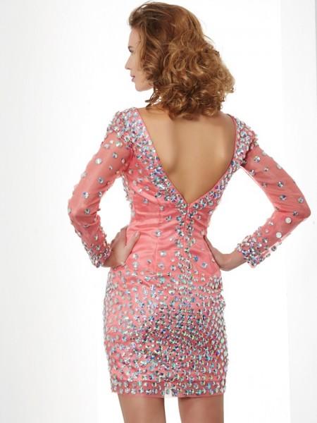 Sheath/Column Chiffon V-neck Short/Mini Beading Long Sleeves Cocktail Dresses