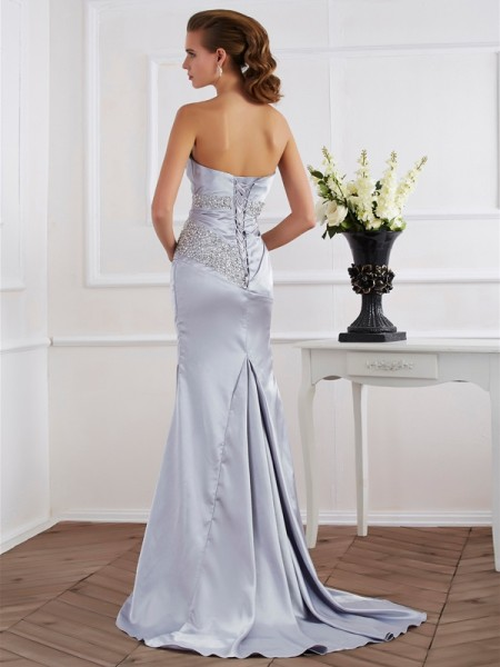 Trumpet/Mermaid Elastic Woven Satin Strapless Sweep/Brush Train Beading Sleeveless Dresses
