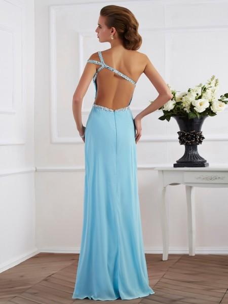 A-Line/Princess Chiffon One-Shoulder Floor-Length Beading Sleeveless Dresses