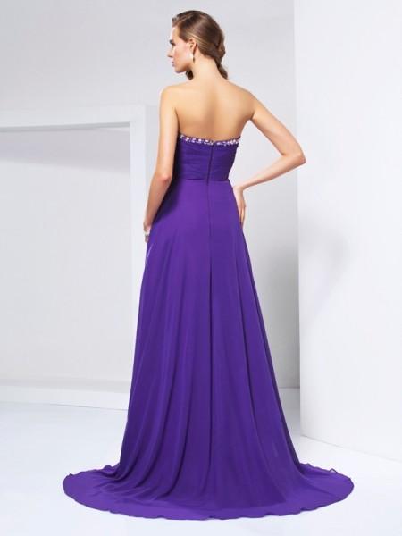 A-Line/Princess Chiffon Sweetheart Sweep/Brush Train Beading Rhinestone Ruched Sleeveless Dresses