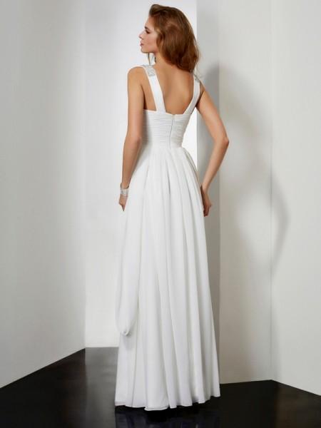 A-Line/Princess Chiffon V-neck Floor-Length Rhinestone Sleeveless Dresses