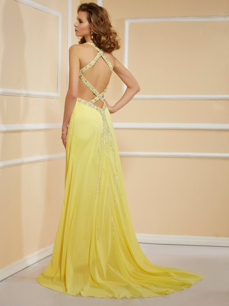 Sheath/Column Chiffon Spaghetti Straps Floor-Length Beading Sleeveless Dresses