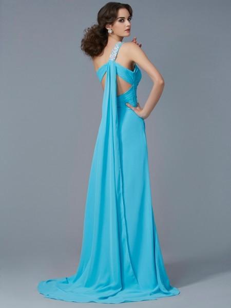 Sheath/Column Chiffon One-Shoulder Sweep/Brush Train Beading Applique Sleeveless Dresses