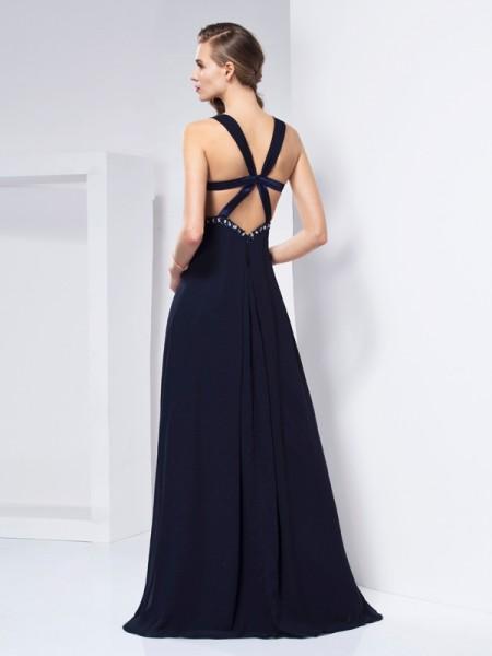 A-Line/Princess Chiffon V-neck Floor-Length Ruffles Sleeveless Dresses