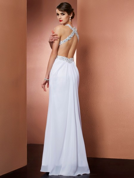 A-Line/Princess Chiffon Halter Floor-Length Beading Applique Sleeveless Dresses