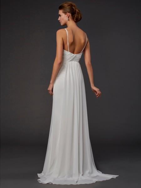 Trumpet/Mermaid Chiffon V-neck Floor-Length Ruffles Sleeveless Dresses