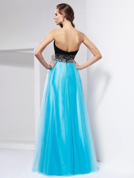 A-Line/Princess Net Sweetheart Floor-Length Sash/Ribbon/Belt Sleeveless Dresses