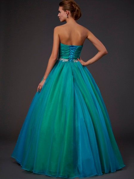 Ball Gown Tulle Sweetheart Floor-Length Beading Sleeveless Dresses