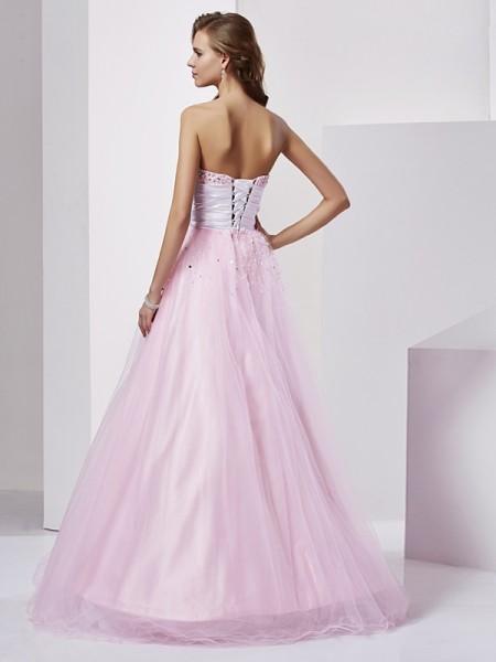 Ball Gown Elastic Woven Satin Strapless Sweetheart Floor-Length Beading Sleeveless Dresses