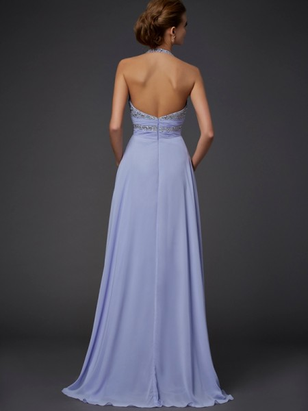 A-Line/Princess Chiffon Halter Floor-Length Beading Sleeveless Dresses