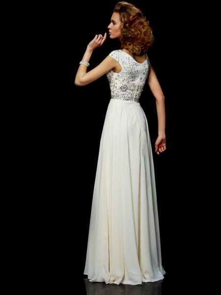 Ball Gown Chiffon High Neck Floor-Length Beading Short Sleeves Dresses