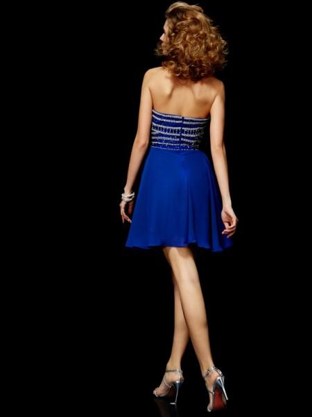 A-Line/Princess Chiffon Strapless Short/Mini Rhinestone Sleeveless Cocktail Dresses