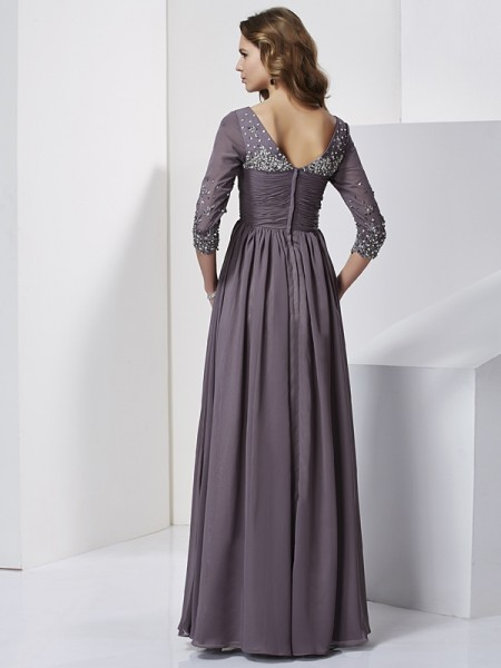 Sheath/Column Chiffon V-neck Floor-Length Beading 3/4 Sleeves Dresses