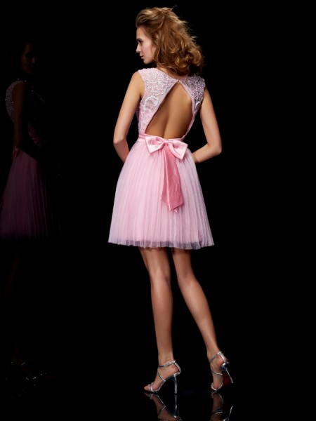A-Line/Princess Elastic Woven Satin Net Scoop Short/Mini Beading Sleeveless Cocktail Dresses