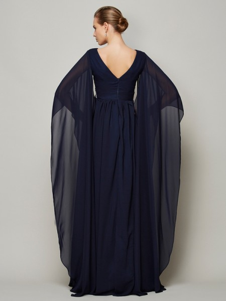 A-Line/Princess Chiffon V-neck Floor-Length Beading Long Sleeves Dresses