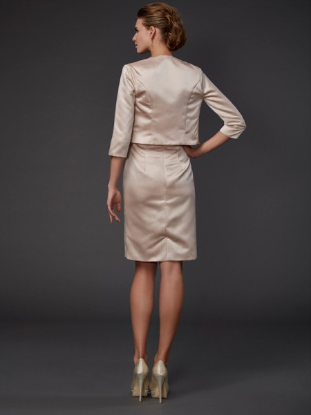 Sheath/Column Satin Square Knee-Length Beading Sequin Sleeveless Mother of the Bride Dresses