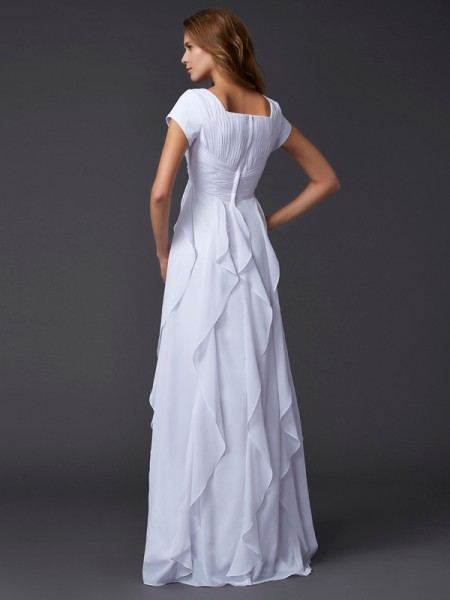 Sheath/Column Chiffon Square Floor-Length Ruffles Short Sleeves Dresses