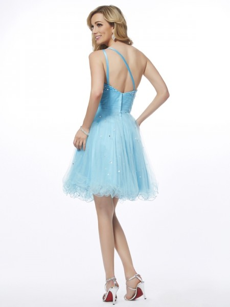 A-Line/Princess Organza One-Shoulder Short/Mini Beading Sleeveless Cocktail Dresses